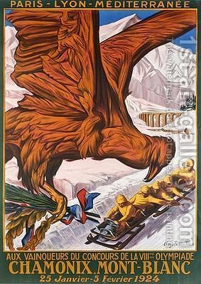 Poster advertising the winter olympics at Chamonix Mont-Blanc January-Febrary 1924 by (after) Matisse, Auguste Philippe - Reproduction Oil Painting