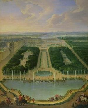 Famous paintings of Pools: Perspective view of the chateau of Versailles seen from the Neptune Fountain 1696