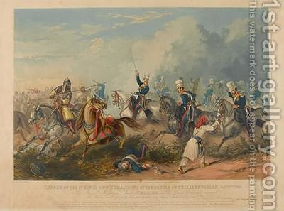 Charge of the 3rd Kings Own Light Dragoons at the Battle of Chillianwala on the 13th of January by (after) Martens, Henry - Reproduction Oil Painting