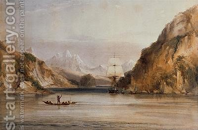 Conrad Martens: HMS Beagle in the Murray Narrows Beagle Channel - reproduction oil painting