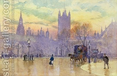 Parliament Square at Dusk 1889 by Herbert Menzies Marshall - Reproduction Oil Painting