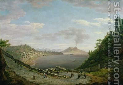Huge version of View of the Bay of Naples with Mount Vesuvius in the Distance