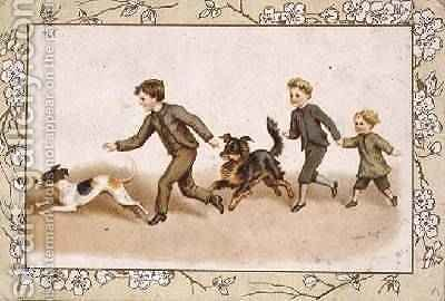 Greetings card depicting children playing with their dogs by Helena J. Maguire - Reproduction Oil Painting
