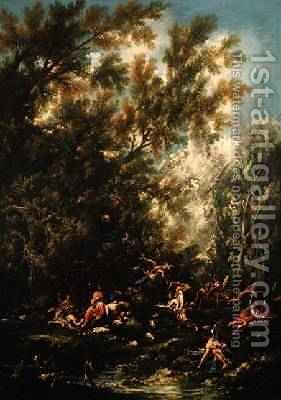 Christ Attended by the Angels 1725-30 by Alessandro Magnasco - Reproduction Oil Painting