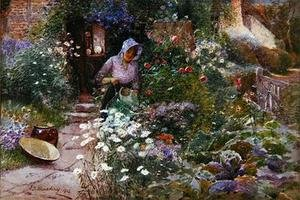 Reproduction oil paintings - Thomas Mackay - In the Garden 1912