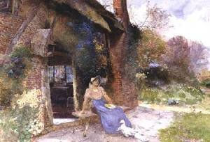 Reproduction oil paintings - Thomas Mackay - By The Cottage Door 1913