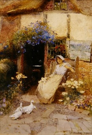 Reproduction oil paintings - Thomas Mackay - At the Cottage Door 1913