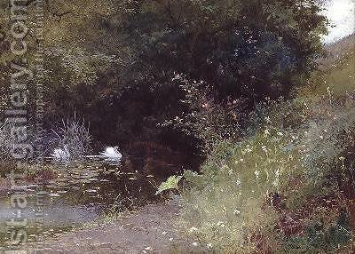 Swans on a Lake 1889 by Thomas Mackay - Reproduction Oil Painting