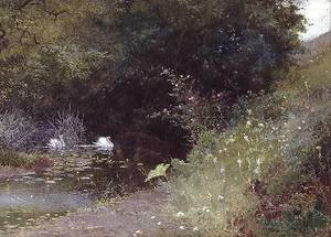 Reproduction oil paintings - Thomas Mackay - Swans on a Lake 1889