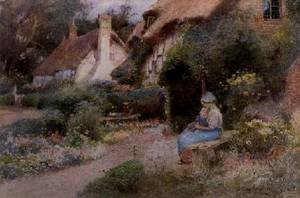 Reproduction oil paintings - Thomas Mackay - At the Cottage Door 1911