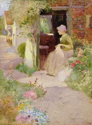 Reproduction oil paintings - Thomas Mackay - A Girl Sewing at the Door of a Cottage 1906