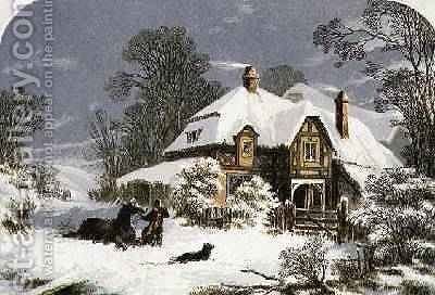 Returning Home through the Snow by (after) Lydon, Alexander Francis - Reproduction Oil Painting