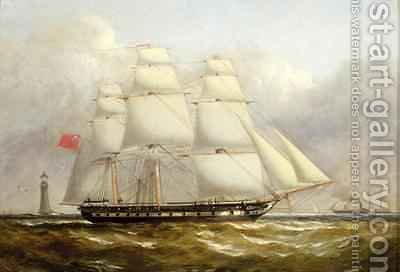 A Frigate off the Eddystone Lighthouse by Henry A. Luscombe - Reproduction Oil Painting