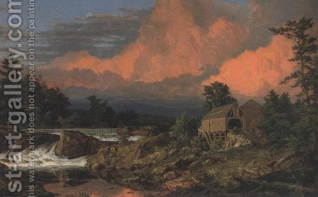 Rutland Falls Vermont 1848 by Frederic Edwin Church - Reproduction Oil Painting
