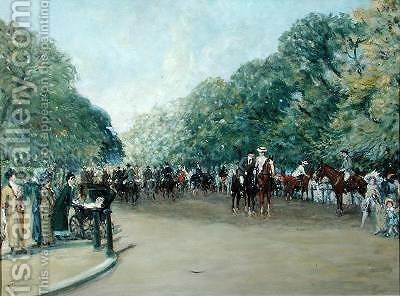 View of Hyde Park with Figures on Rotten Row by Albert Jnr. Ludovici - Reproduction Oil Painting