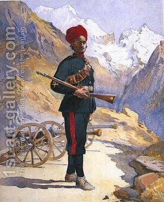 Gunner of the Mountain Battery Punjabi Musalman by Alfred Crowdy Lovett - Reproduction Oil Painting