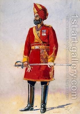 The Commandant of the Bharatpur Infantry by Alfred Crowdy Lovett - Reproduction Oil Painting
