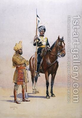 Soldiers of the Mysore Transport Corps by Alfred Crowdy Lovett - Reproduction Oil Painting