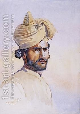 Soldier of the 82nd Punjabis Awan by Alfred Crowdy Lovett - Reproduction Oil Painting