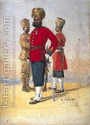 Soldiers of the 1st and 3rd Brahmans Subadar by Alfred Crowdy Lovett - Reproduction Oil Painting