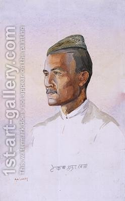 A Khas Gurkha of the 9th Gurkha Rifles by Alfred Crowdy Lovett - Reproduction Oil Painting
