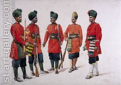 Soldiers of the Former Hyderabad Contingent Infantry by Alfred Crowdy Lovett - Reproduction Oil Painting