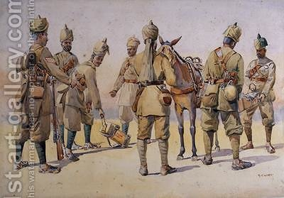 Soldiers of the 46th and 33rd Punjabis by Alfred Crowdy Lovett - Reproduction Oil Painting