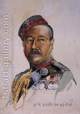 Subadar-Major Gurung Gurkha by Alfred Crowdy Lovett - Reproduction Oil Painting