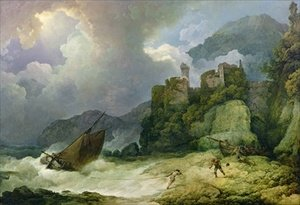 Famous paintings of Ships & Boats: Smugglers Landing in a Storm 1791