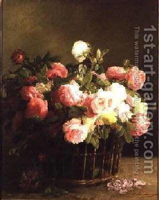 Basket of Flowers by Hans Looscher - Reproduction Oil Painting