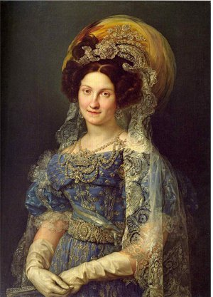 Rococo painting reproductions: Maria Christina de Bourbon-Sicile 1806-78 Queen of Spain 1829