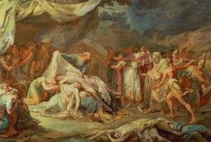 Rococo painting reproductions: Cyrus the Great before the bodies of Abradatus and Pantheus