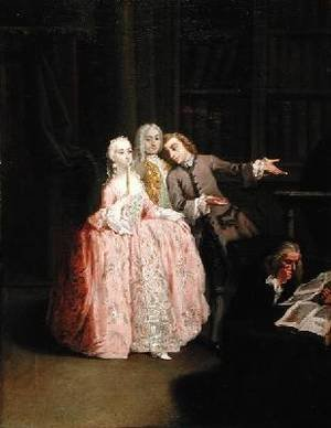 Reproduction oil paintings - Pietro Longhi - Visit to a Library