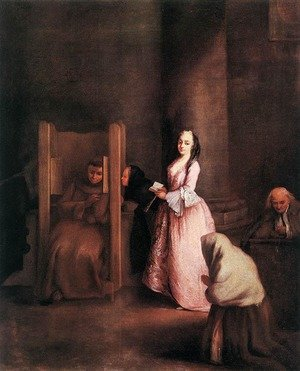 Reproduction oil paintings - Pietro Longhi - The Confession 1755 2