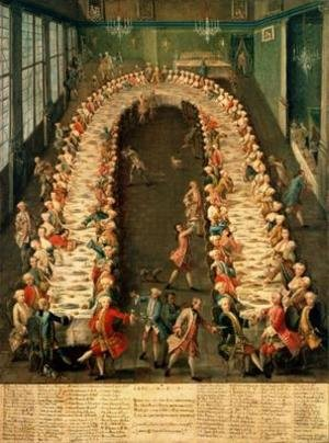Reproduction oil paintings - Pietro Longhi - The Banquet at Casa Nani Given in Honour of their Guest Clemente Augusto Elector Archbishop of Cologne on 9th September 1755
