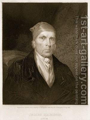James Madison aged 82 by (after) Longacre, James Barton - Reproduction Oil Painting