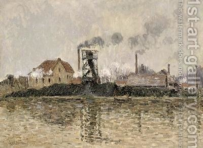 Factory on the Bank of the Oise 1908 by Gustave Loiseau - Reproduction Oil Painting