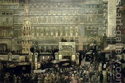 Outside Charing Cross Station July 1916 by J. Hodgson Lobley - Reproduction Oil Painting