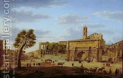 Hadrians Arch Rome by Hendrik Frans Van Lint - Reproduction Oil Painting