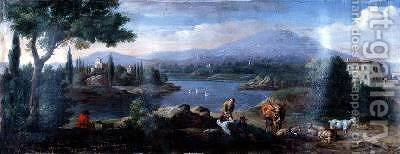Italianate Landscape with Cowherds Resting by Hendrik Frans Van Lint - Reproduction Oil Painting