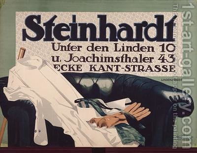Advertisement for Steinhardt gentlemens outfitters in Berlin 1912 by Hans Lindenstaedt - Reproduction Oil Painting