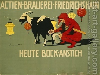German advertisement for Bock beer by Hans Lindenstaedt - Reproduction Oil Painting