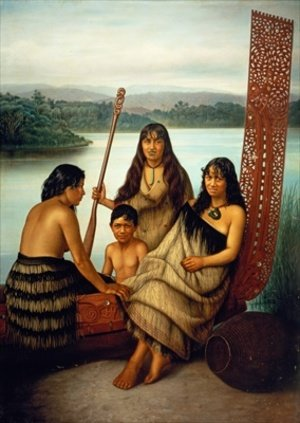Neo-Classical painting reproductions: Three Maori girls and a boy sitting on a large carved Maori canoe by a lake 1899