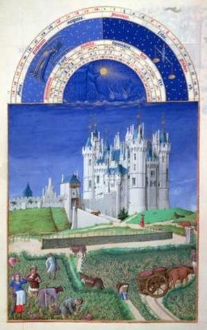 Medieval & Gothic Art painting reproductions: September harvesting grapes from the Tres Riches Heures du Duc de Berry