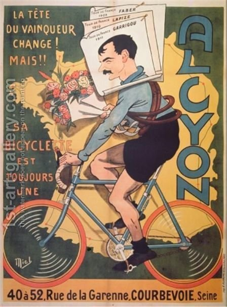 Poster advertising Alcyon cycles with the winners of Tour de France Faber 1909