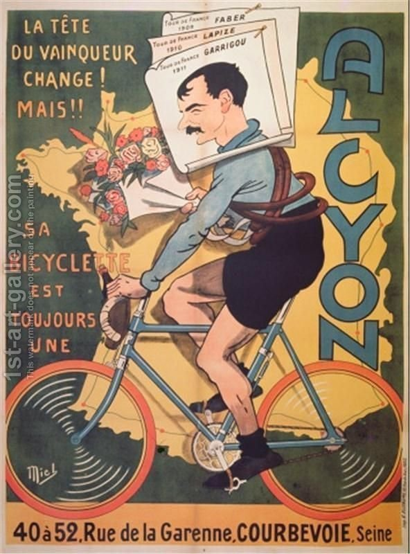 Huge version of Poster advertising Alcyon cycles with the winners of Tour de France Faber 1909