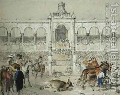 Seville Bullfight Removing the dead bull from the ring