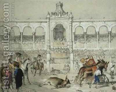 Huge version of Seville Bullfight Removing the dead bull from the ring
