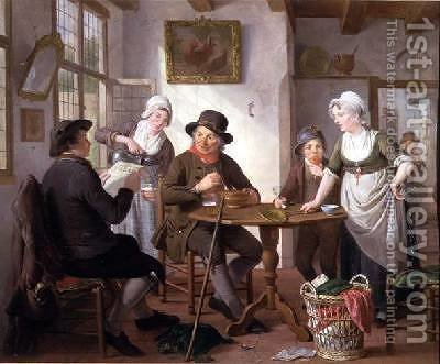 An Inn Interior by Adriaan de Lelie - Reproduction Oil Painting