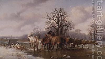 The Timber Sledge by Alexis de Leeuw - Reproduction Oil Painting